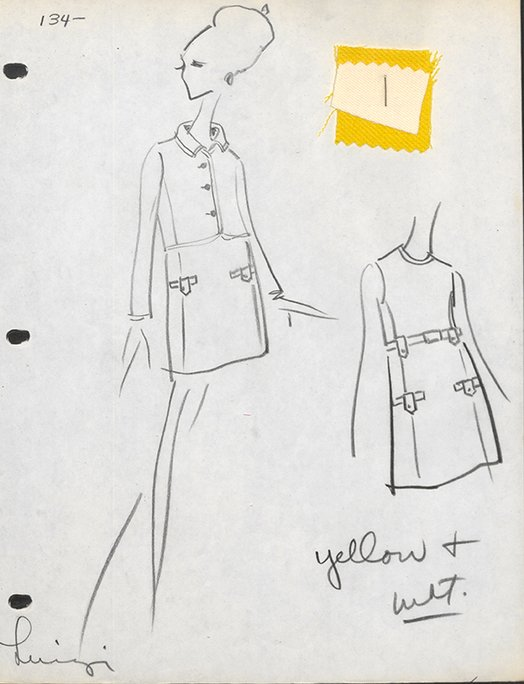 House Sketch of Day Ensemble, Dress and Jacket of Yellow and White Wool  Created: fall 1966  Oscar de la Renta for Jane Derby. Courtesy of Oscar de la Renta Archive.