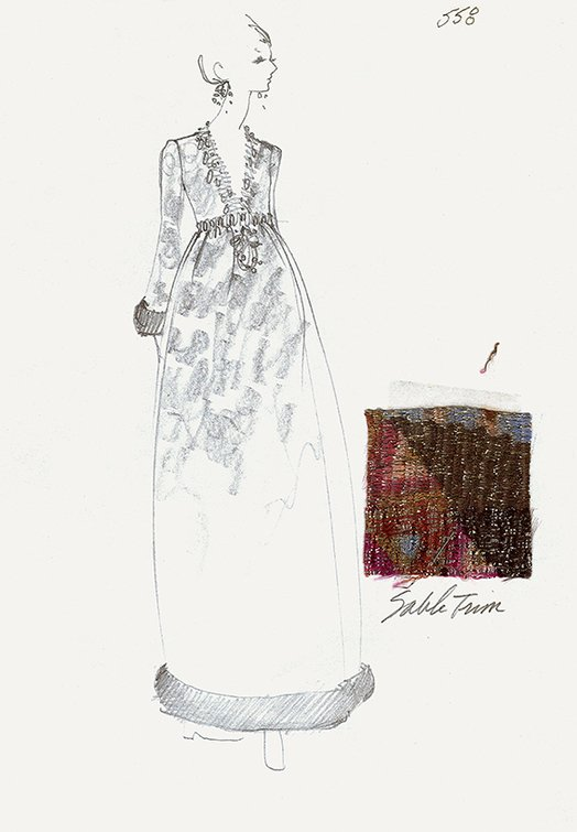 House Sketch of Evening Dress of Polychrome Lamé, Sable, and Metallic Braid