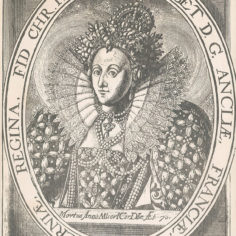 Playbill depicting elizabet the queen in her royal attire