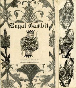 Playbill for Royal Gambit depicting the image of a king from a pack of cards