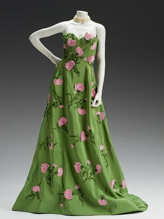 Evening Gown  Oscar de la Renta Created: 2011  Oscar de la Renta, Evening Gown, spring 2011, embroidered silk. The Mint Museum Auxiliary's Gift to the Costume Collection. 2011.43a. Collection of The Mint Museum