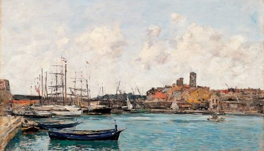 Oil painting of a ship yard in the 1800's
