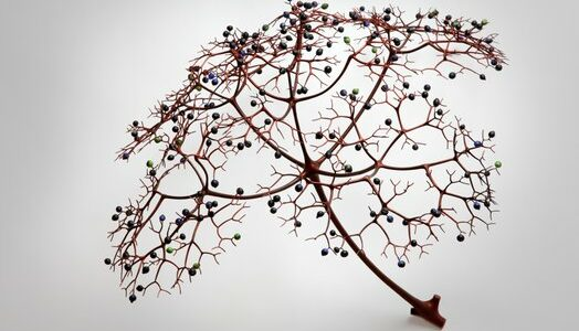 Porcelain tree branch with berries attached