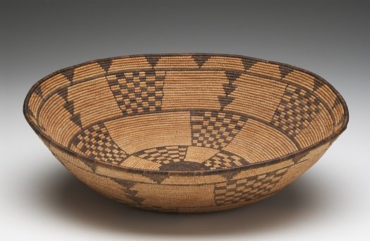 Basketry Bowl with Checkerboard and Arrowhead Motif