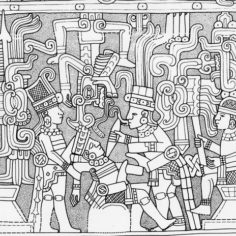 Drawing of recovered inscriptions on artifacts. Pictured are several people holding a ceremony