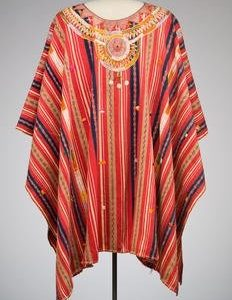decorative striped pancho with wide neck and embellished collar