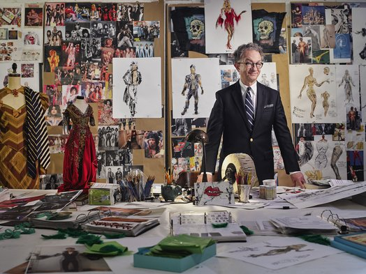 William Ivey Long in his studio with inspiration boards for The Rocky Horror Picture Show