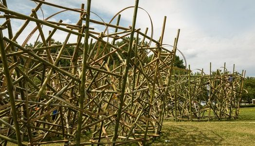 A large maze like structure constructed on the lawn of Mint Museum Randolph