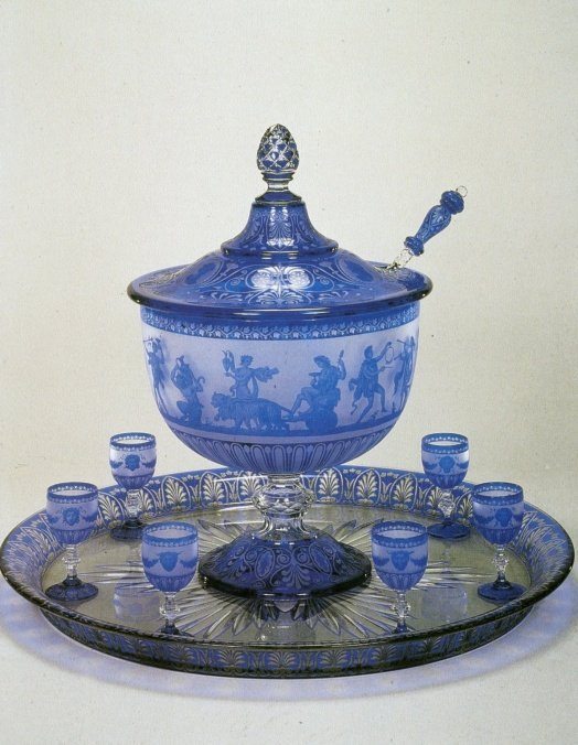 Lidded Punch Bowl with Goblets, Tray, and Ladle