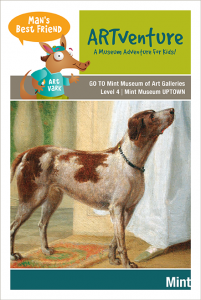 """A poster for """"Artventrue: a museum adventure for kids"""" which has a painting of dog underneath the words."""