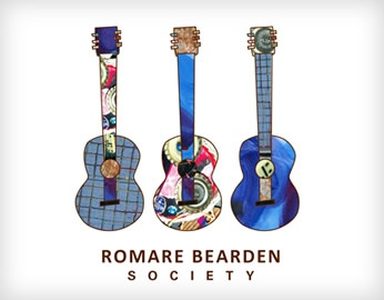 Romare Bearden Society poster with three illustrated guitars with alternating patters on the base and the neck of the guitars
