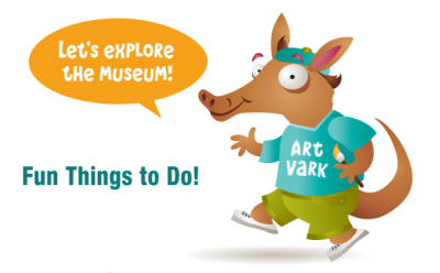 """A cartoon aardvark labelled as an """"art vark"""" with a speech bubble that says """"Lets explore the museum"""""""
