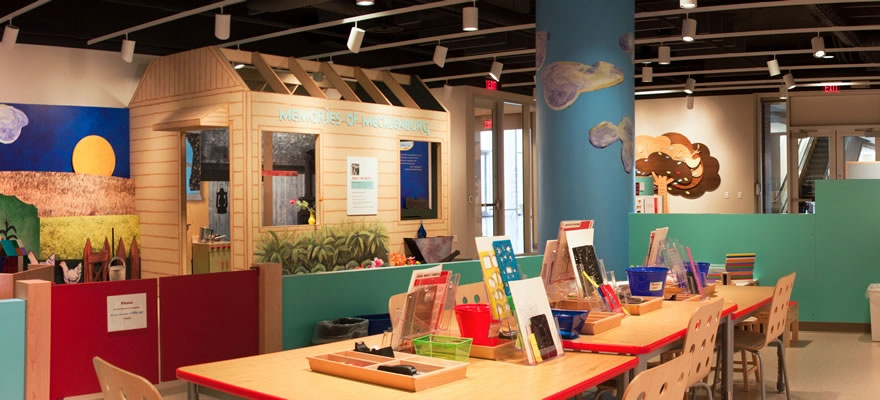 The childrens play room on the first floor of mint museum uptown. there is a tree house area and a place for kids to paint and make art.