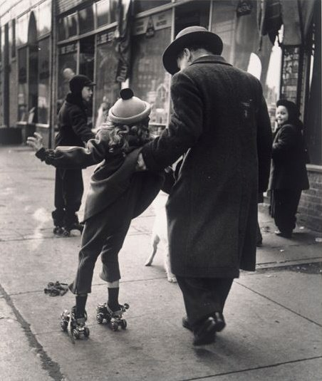 Man and Girl with Skates, East New York, (New Lots Ave) Brooklyn