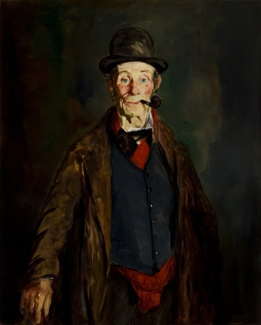 Painting of a man smoking a pipe. The man is wearing a trench coat and a matching top hat.