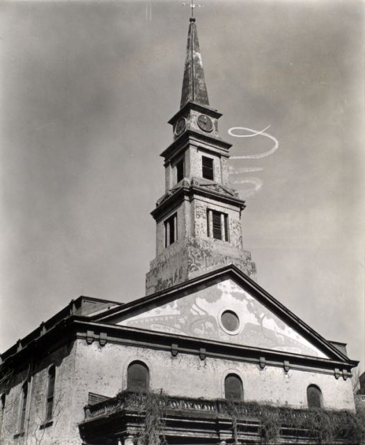 St. Mark's Church, Skywriting Spiral, East 10th Street and Second Avenue March 23, 1937