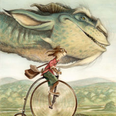 Painting of a rabbit riding a penny farthing bicycle with a dragon flying beside it.