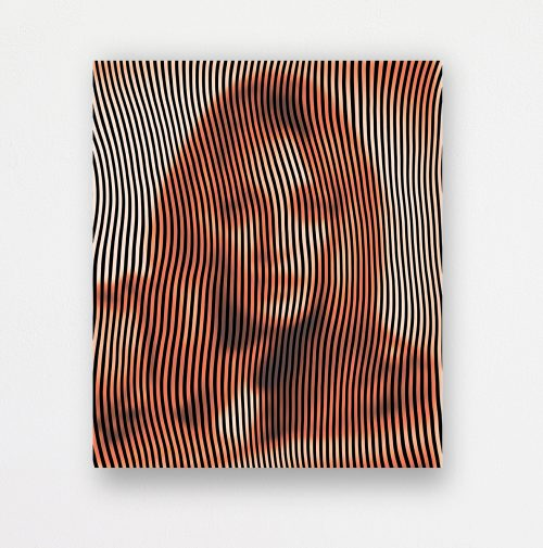 Up-close of a woman with vertical lines spanning the canvas