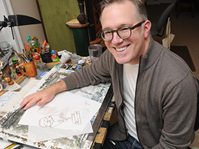 Tony DiTerlizzi in his art studio