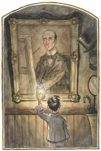 Illustration of a boy in pajamas holding a candle looking at a portrait of an older man