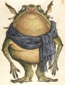 A creature resembling a toad standing on two legs with large pointed ears. it is wearing a tattered scarf around its neck