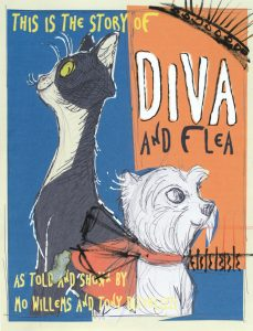 "A cover of a book called ""Diva and Flea"" it has a large cat on the left and a small dog on the right looking away from one another"