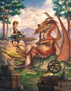 A boy and a dragon sitting in the woods playing chess