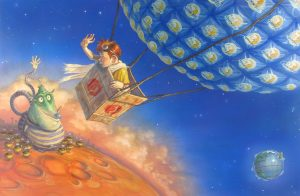 "A boy riding in the basket of a hot air ballon made of ""moonpie"" wrappers. The boy is looking down and waving to a green character that is waving back"