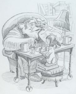 A grayscale illustration of Kenny the rabbit and another larger animal sitting at a table playing chess