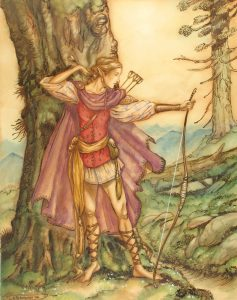 An elven-like creature standing by a tree holding a bow and arrow