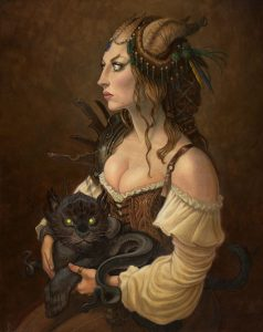 painting of a woman with horns coming out of her hair. She is holding what appears to be a cat-snake hybrid.
