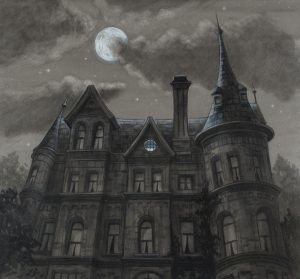 A gloomy mansion against a dark and cloudy sky. A full moon is peeking out from behind a cloud