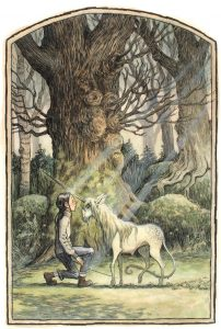 A girl kneeling in a forest with a unicorn gently putting its horn on her forehead