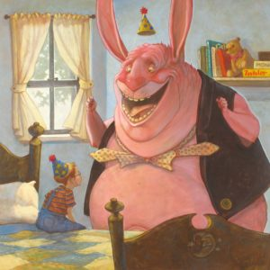 Ted, a large pink character, stands off the side of a boys bed with an excited look on his face. Both ted and the boy are wearing cone-shapped party hats.