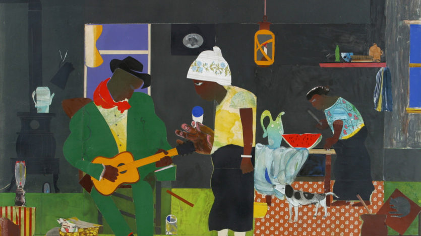 Romare H. Bearden (American, 1911–88). Evening of the Gray Cat, 1982, collage on board. Gift of Bank of America. 2002.68.3. © 2020 Romare Bearden Foundation / Licensed by VAGA at Artists Rights Society (ARS), NY