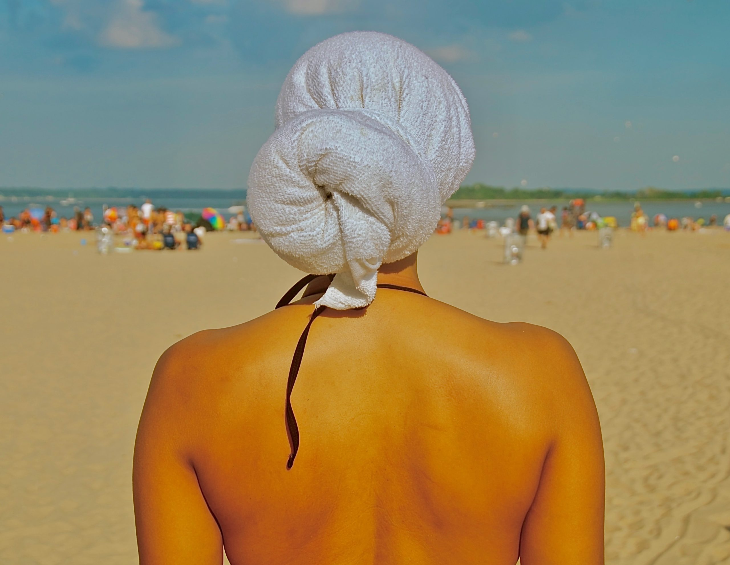 Towel Head Wrap (Old School Style) 2012, Orchard Beach, The Bronx, NYC. June 9, 2012, 3:45 PM (85 degrees). © Ruben Natal-San Miguel. Courtesy of Ruben Natal-San Miguel & Postmasters Gallery.