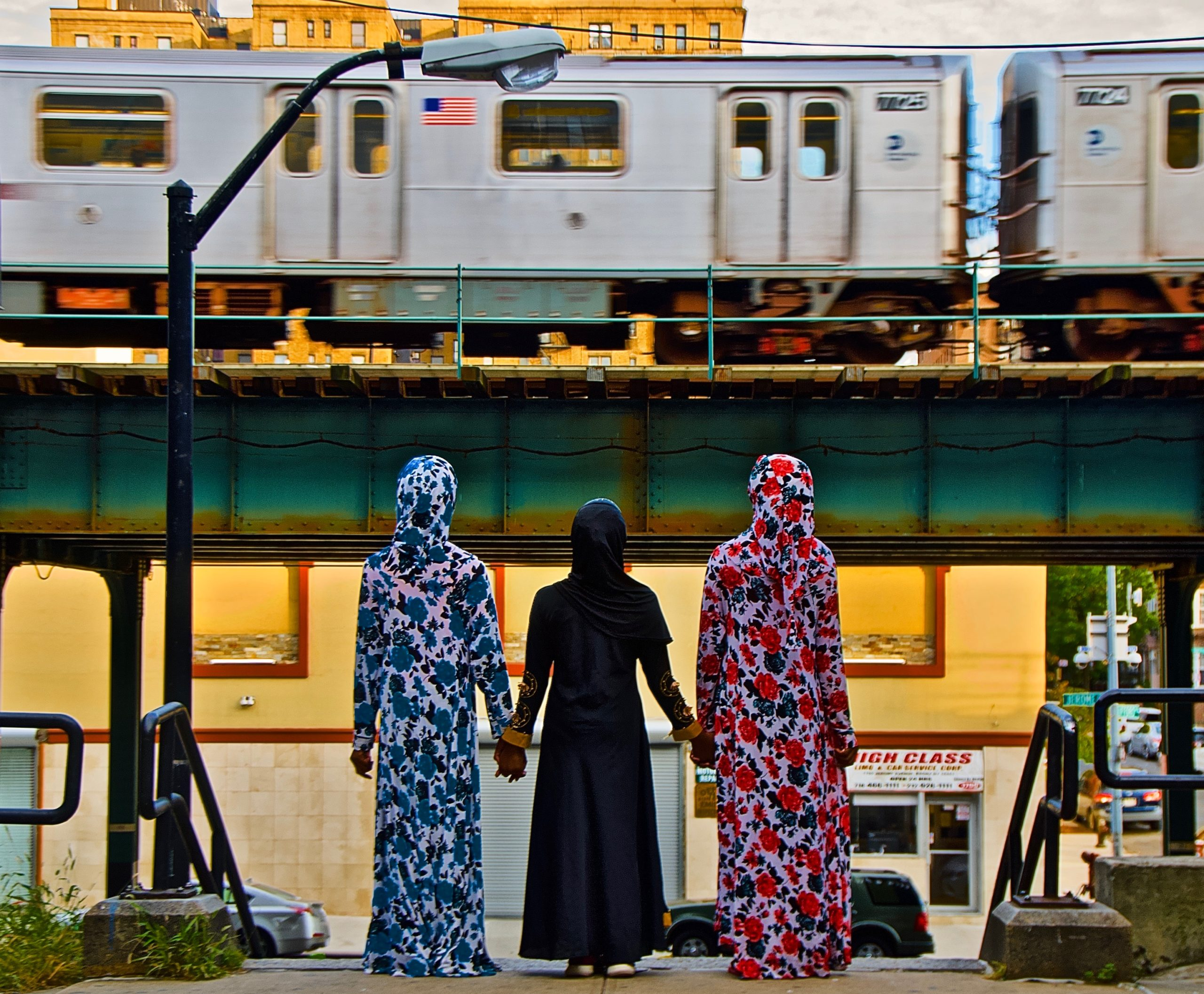 3 Muslim Girls, (W. 174 St. and Jerome Avenue steps, New York, NY), Jerome Avenue Subway Bronx, NYC. Sunday, October 13, 2019. 4:55 PM (67 degrees). NYC. © Ruben Natal-San Miguel. Courtesy of Ruben Natal-San Miguel & Postmasters Gallery.