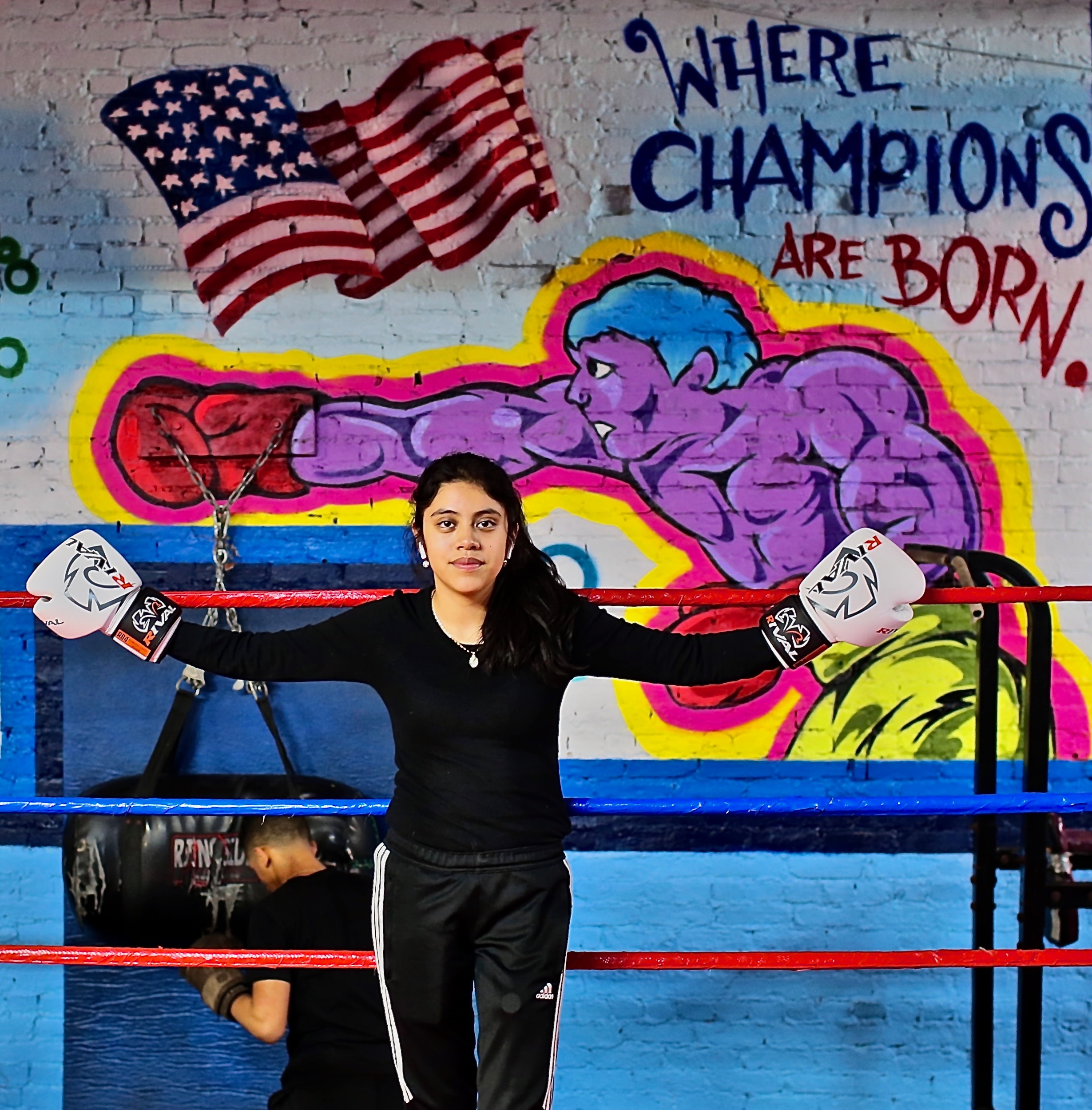 Adelyne (18 Year Old Boxer) 2020, Jerome Avenue, The Bronx, NYC. Wednesday, January 22, 2020. 7:02 PM (38 degrees). © Ruben Natal-San Miguel. Courtesy of Ruben Natal-San Miguel & Postmasters Gallery.
