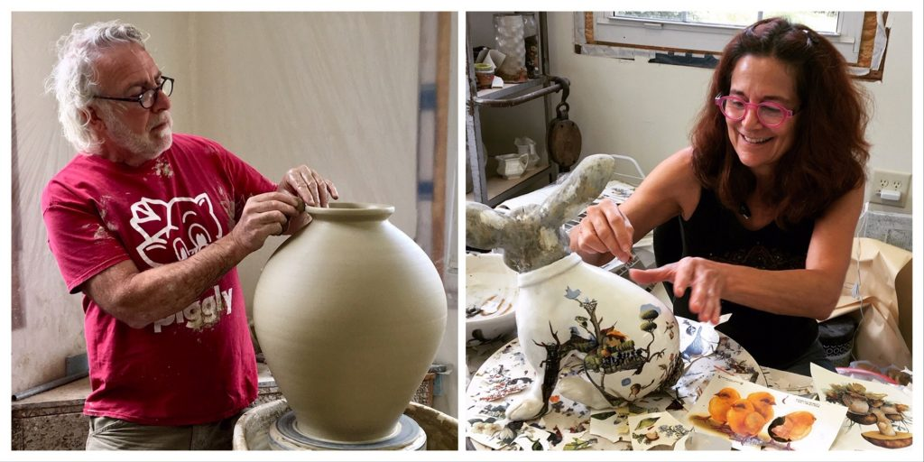 Fred Johnston and Carol Gentithes work with clay in their studio