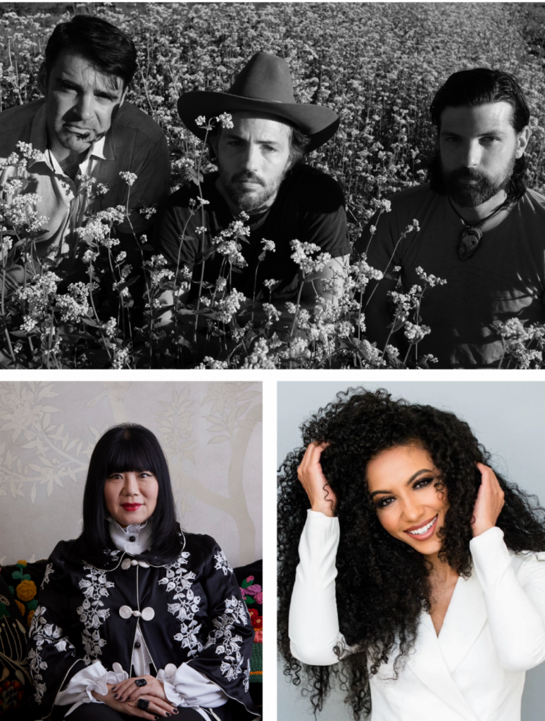 Composite of three portraits. The Avett Brothers, Cheslie Kryst, and Anna Sui.