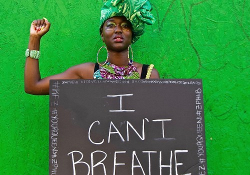 I CAN'T BREATHE, 2018 African American Parade Harlem, NYC. Sunday, September 16, 2018, 2:38 PM, (83 degrees). ©Ruben Natal-San Miguel. Courtesy of Ruben Natal-San Miguel & Postmasters Gallery.